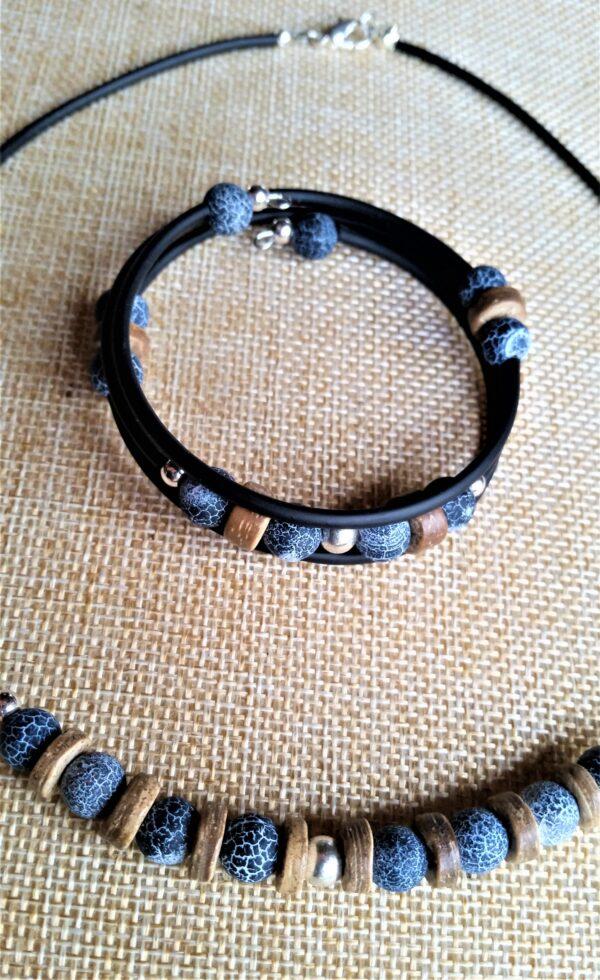 Wickelarmband Armband Armreif Achat Spinnennetzachat Kokosnuss Holz Perlen Schmuckset