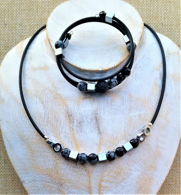 Schmuckset Kette Wickelarmband Armband Hämatit Obsidian