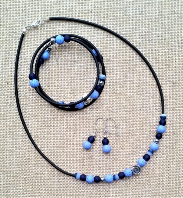 Schmuckset Wickelarmband Kette Ohrringe Spirale Glas Hämatit Kunststoff