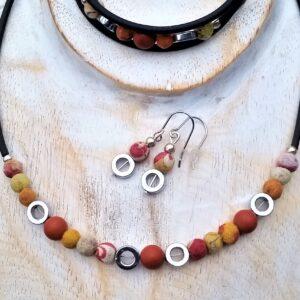 Schmuckset Kette, Wickelarmband und Ohrhänger Seidenperlen Hämatit Jaspis