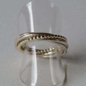 Ring aus 5 Ringen zusammen gesetzt, 925 Silber und 585 Gold